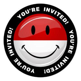 """Bandera polaca sonriente invitación 5.25"""" x 5.25"""""""