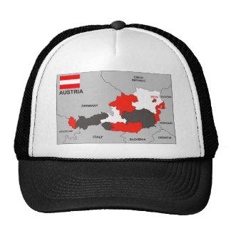 bandera política del mapa del país de Austria Gorras