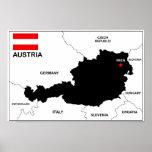 bandera política del mapa del país de Austria Impresiones