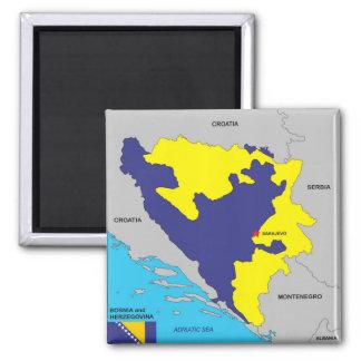 Bandera política del mapa del país de Bosnia y Imán Cuadrado
