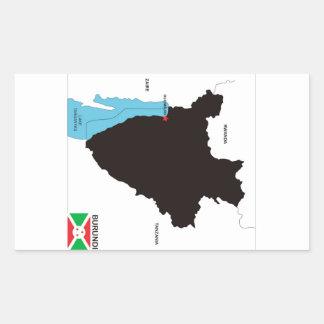 bandera política del mapa del país de Burundi Pegatina Rectangular
