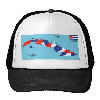 Bandera política del mapa del país de Cuba Gorra