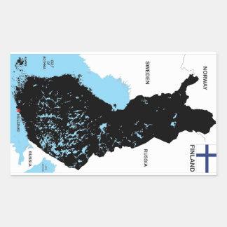 bandera política del mapa del país de Finlandia Rectangular Pegatinas