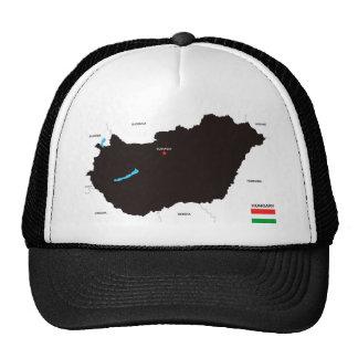 bandera política del mapa del país de Hungría Gorros