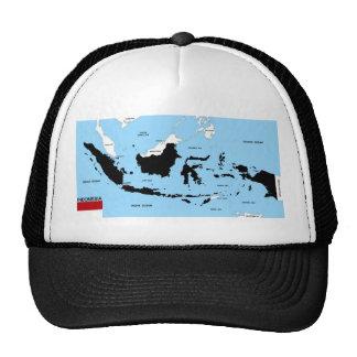 bandera política del mapa del país de Indonesia Gorra