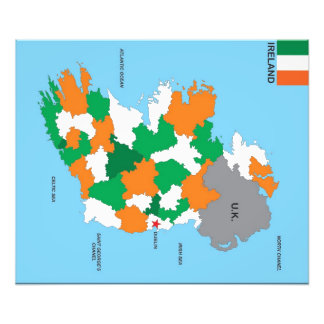 bandera política del mapa del país de Irlanda Fotografía