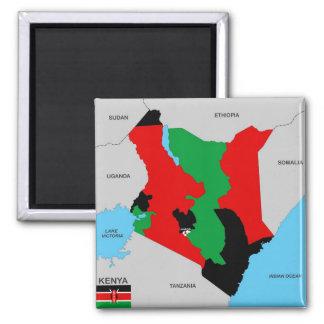 bandera política del mapa del país de Kenia Imán De Frigorífico