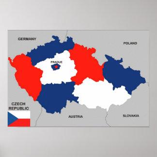 bandera política del mapa del país de la República Póster