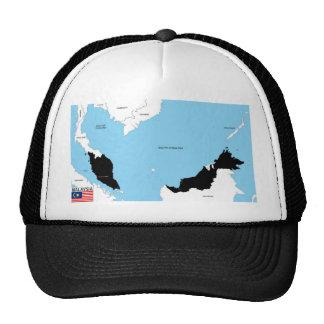 bandera política del mapa del país de Malasia Gorro
