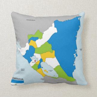 bandera política del mapa del país de Nicaragua Cojin