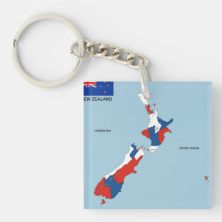 bandera política del mapa del país de Nueva Zeland Llavero Cuadrado Acrílico A Doble Cara