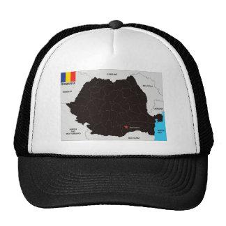 bandera política del mapa del país de Rumania Gorros Bordados