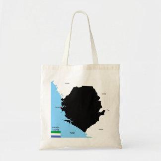 bandera política del mapa del país de Sierra Leona Bolsas Lienzo