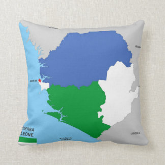 bandera política del mapa del país de Sierra Leona Almohadas
