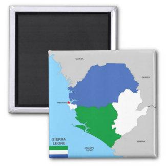 bandera política del mapa del país de Sierra Leona Imanes Para Frigoríficos