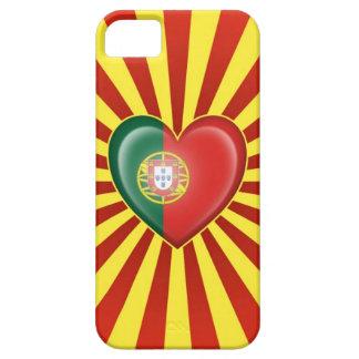 Bandera portuguesa del corazón con la explosión de iPhone 5 Case-Mate coberturas