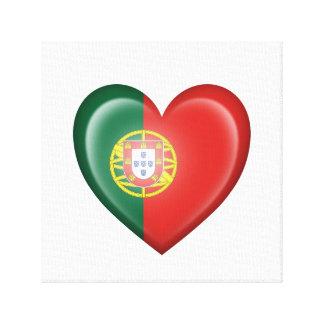 Bandera portuguesa del corazón en blanco impresión en lienzo