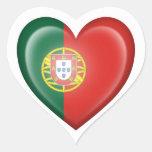Bandera portuguesa del corazón en blanco calcomanía de corazón personalizadas