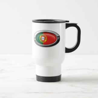 Bandera portuguesa en el marco de acero taza de café