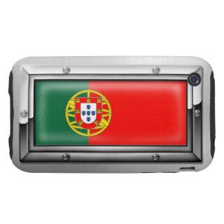 Bandera portuguesa en un marco de acero iPhone 3 tough protector
