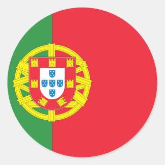 Bandera portuguesa pegatina redonda