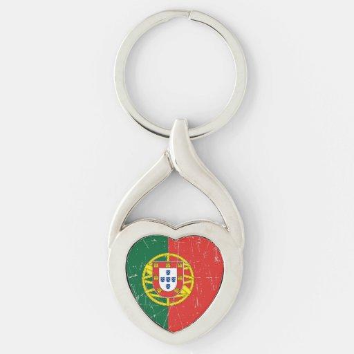 Bandera portuguesa rascada y rasguñada llaveros