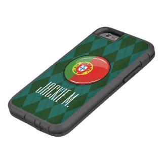 Bandera portuguesa redonda brillante funda de iPhone 6 tough xtreme