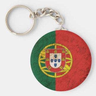 Bandera portuguesa rugosa llavero redondo tipo pin