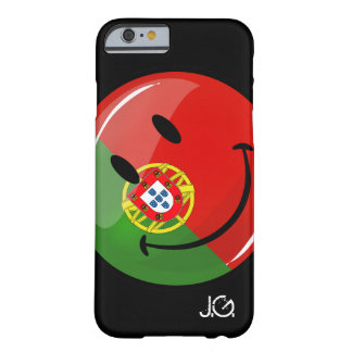 Bandera portuguesa sonriente funda para iPhone 6 barely there