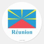 Bandera propuesta de Reunion Island con nombre en Etiqueta Redonda