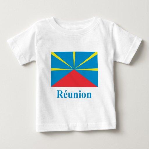 Bandera propuesta de Reunion Island con nombre en Tee Shirt