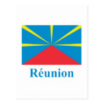 Bandera propuesta de Reunion Island con nombre en  Tarjeta Postal