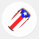 Bandera Puerto Rico del Conga Etiquetas Redondas