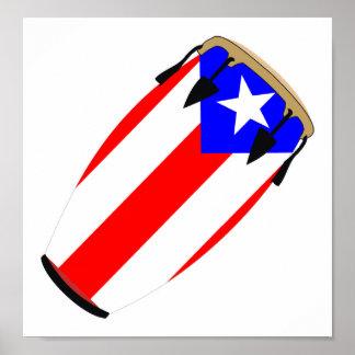 Bandera Puerto Rico del Conga Póster