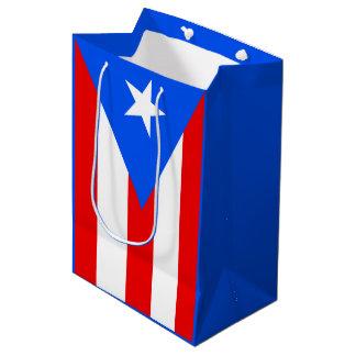 Bandera puertorriqueña bolsa de regalo mediana