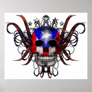 Bandera puertorriqueña - cráneo poster