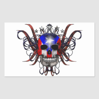 Bandera puertorriqueña - cráneo pegatina rectangular