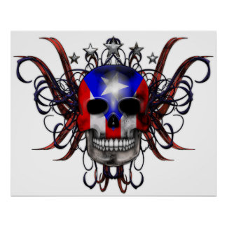 Bandera puertorriqueña - cráneo póster