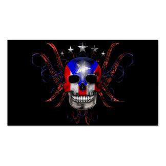 Bandera puertorriqueña - cráneo tarjetas de visita