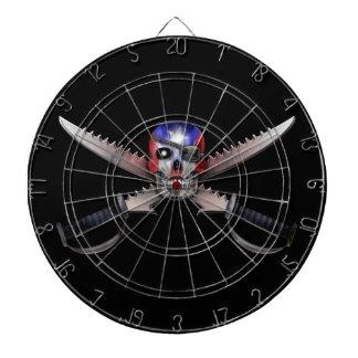 Bandera puertorriqueña - cráneo y espadas cruzadas tabla dardos