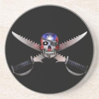 Bandera puertorriqueña - cráneo y espadas cruzadas posavasos diseño