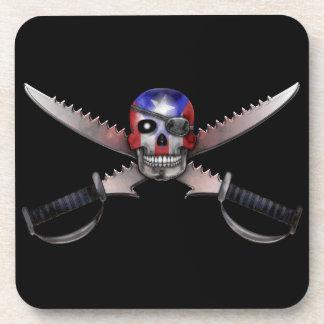 Bandera puertorriqueña - cráneo y espadas cruzadas posavasos de bebidas