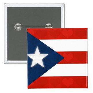 Bandera puertorriqueña de corazones rayados rojos pin cuadrada 5 cm