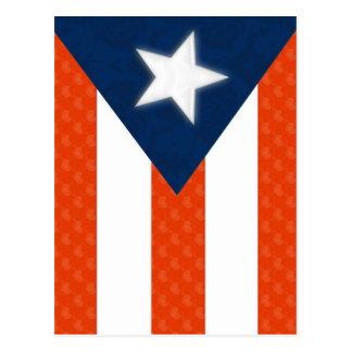 Bandera puertorriqueña de corazones rayados rojos tarjeta postal