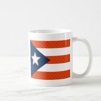 Bandera puertorriqueña de corazones rayados rojos tazas