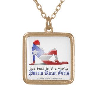 Bandera puertorriqueña de la silueta del chica colgante personalizado