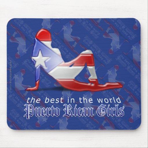 Bandera puertorriqueña de la silueta del chica mousepad