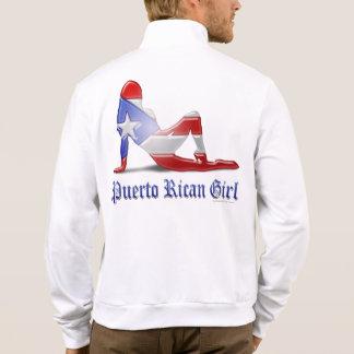 Bandera puertorriqueña de la silueta del chica chaqueta