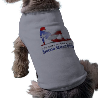 Bandera puertorriqueña de la silueta del chica playera sin mangas para perro