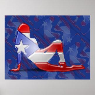 Bandera puertorriqueña de la silueta del chica póster